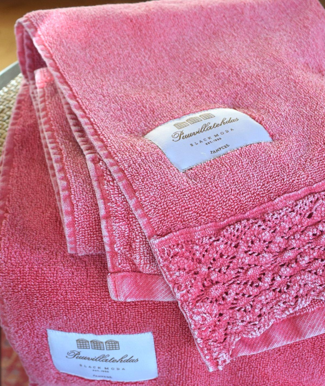 Puuvillatehdas roosa käsipyyhe.