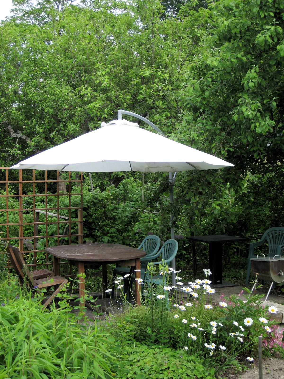 Valkoinen auringonvarjo pöytäryhmän päälllä.