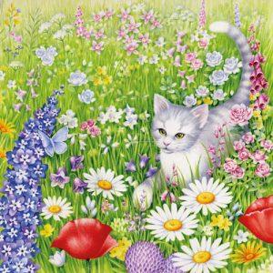 Kissaservetti kukkia