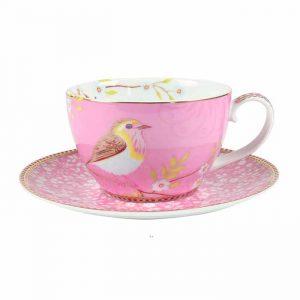 Pip studio lintu cappuccino kuppi vaaleanpunainen