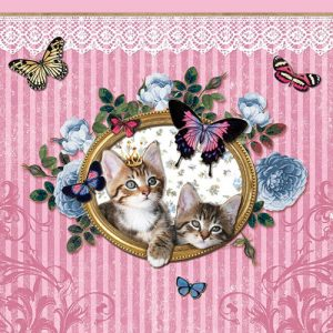 Kissan serveti vaaleanpunaiset
