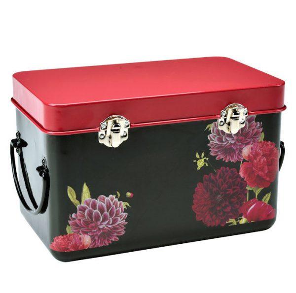 Värikäs mustapohjainen kukkakuviollinen laatikko siemenien säilytykseen