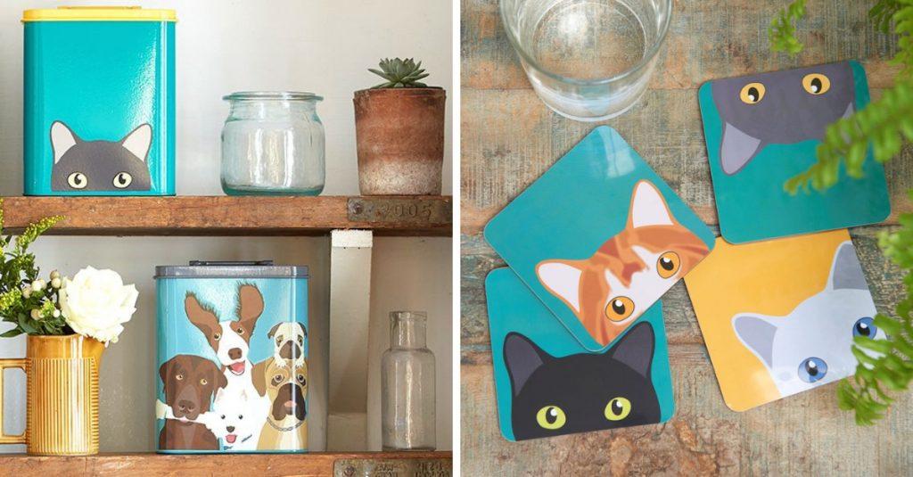 koira-aiheiset purkit ja kissa lasinaluset