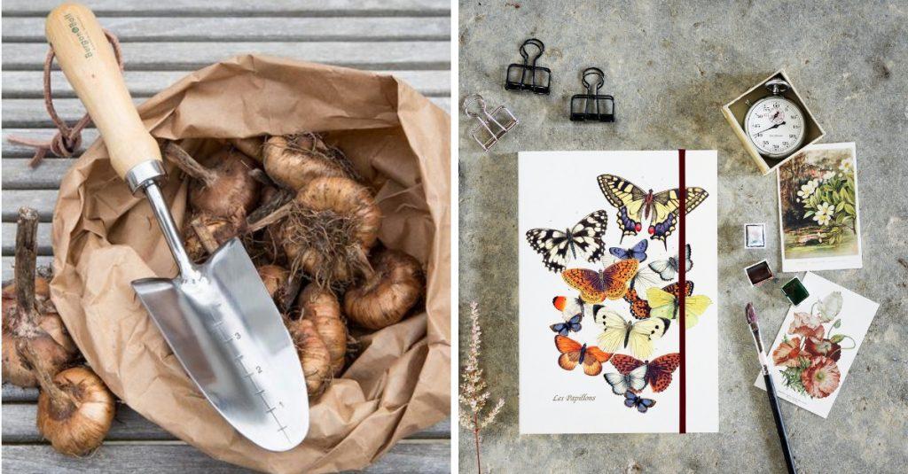 istutuslapio ja sipulit paperipussissa sekä perhosmuistikirja