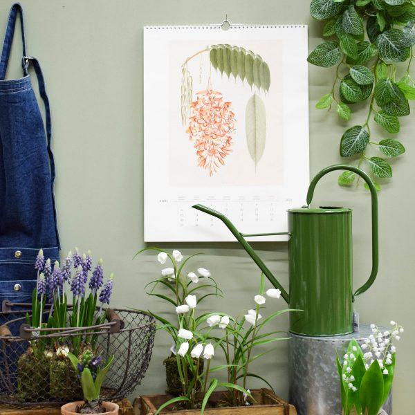 Aidon näköisiä tekokukkia ja puutarhatarvikkeita vihreäksi maalatun seinän edessä.