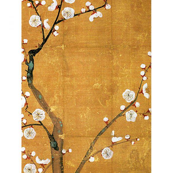 Japanilaishenkinen juliste keltaisella pohjalla luumupuu