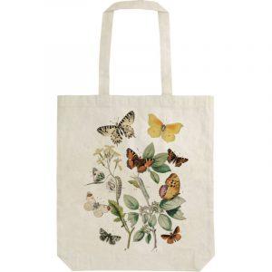 Ostoskassi puuvillainen perhosten kuvilla