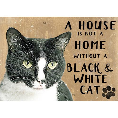 mustavalkoinen kissa peltikyltti