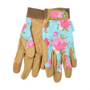 sinipohjaiset, pionikuvioiset puutarhahanskat, joissa vaaleanruskea kämmenen puoli ja sormenpäät sekä tarrakiristys ranteessa