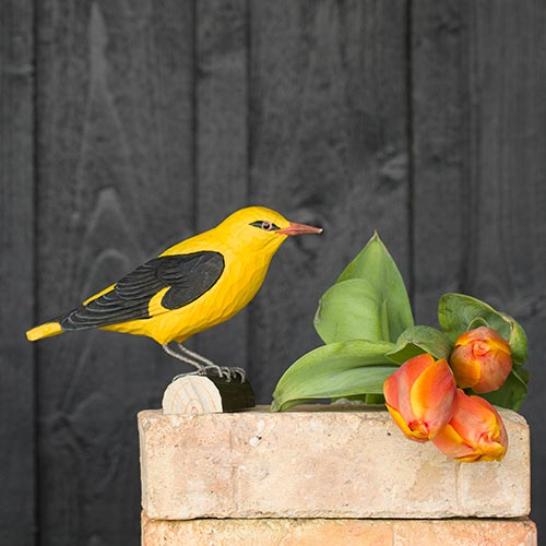 keltainen ja musta kuhankeittäjä koristelintu, tehty puusta, wildlife garden