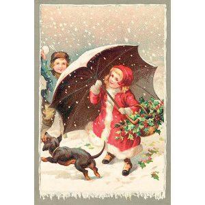 joulukortti lapset ja koira