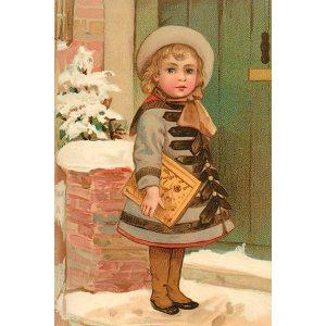 joulukortti lapsi ja kirja