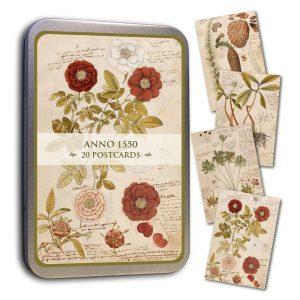 kasviteemaiset kortit peltirasiassa