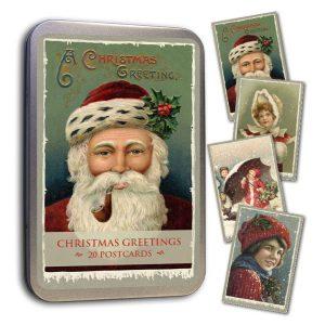 joulukortit peltirasiassa joulupukki ja lapset