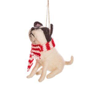 koira kaulahuivilla joulukuusenkoriste