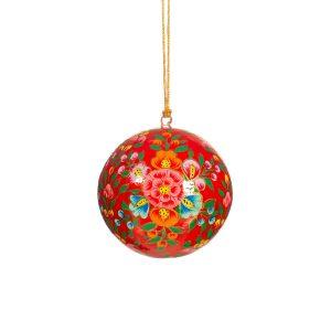 punapohjainen kukallinen joulupallo