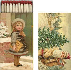 tulitikkurasia jouluaiheisilla vintage kuvilla