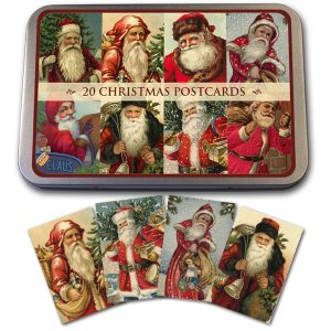 joulupukki joulukortit peltirasiassa