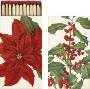 tulitikkurasia punaisilla joulukukka kuvioilla