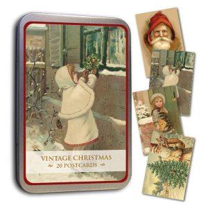 vintage joulukortit peltirasiassa